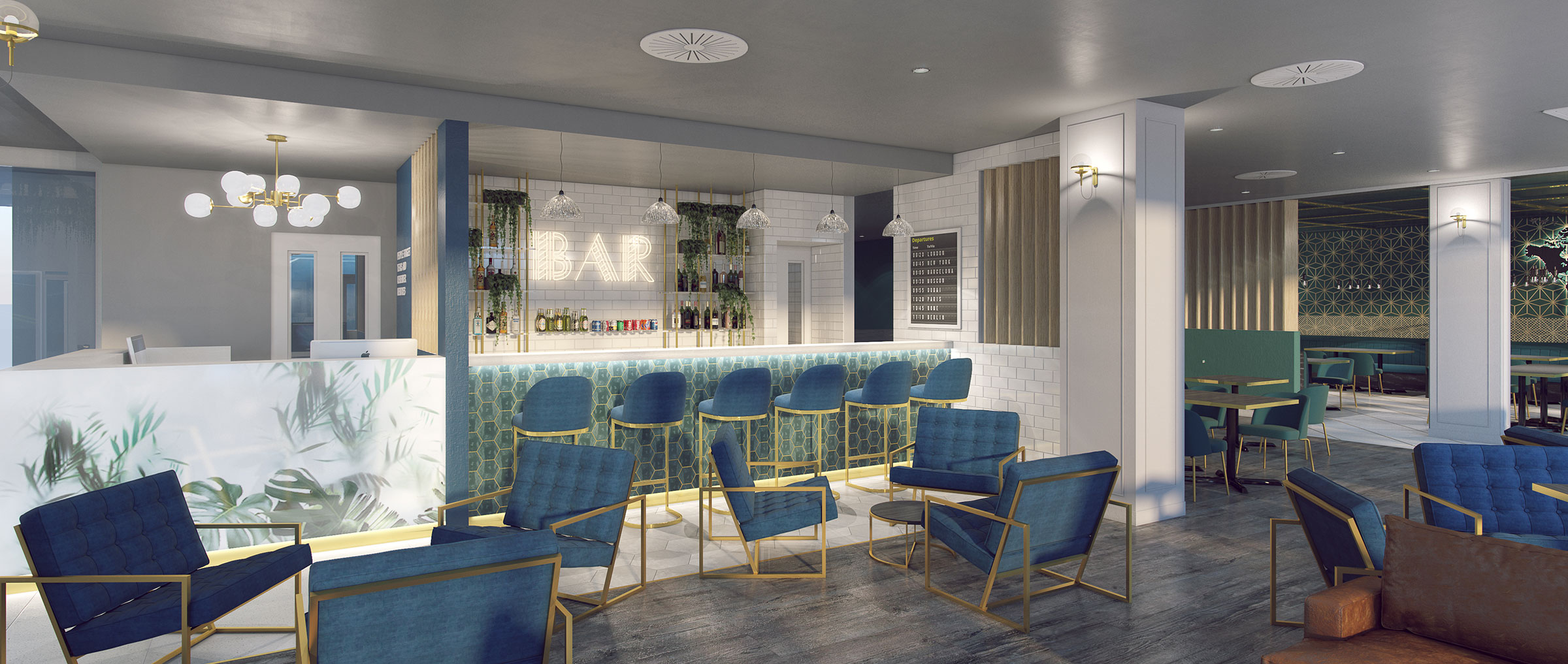 wide shot of a hotel bar seating area