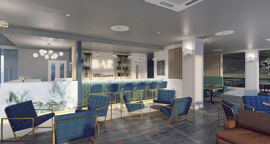 large hotel bar interior seating area
