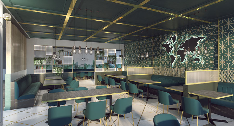 hotel restaurant interior design with world map wall decor