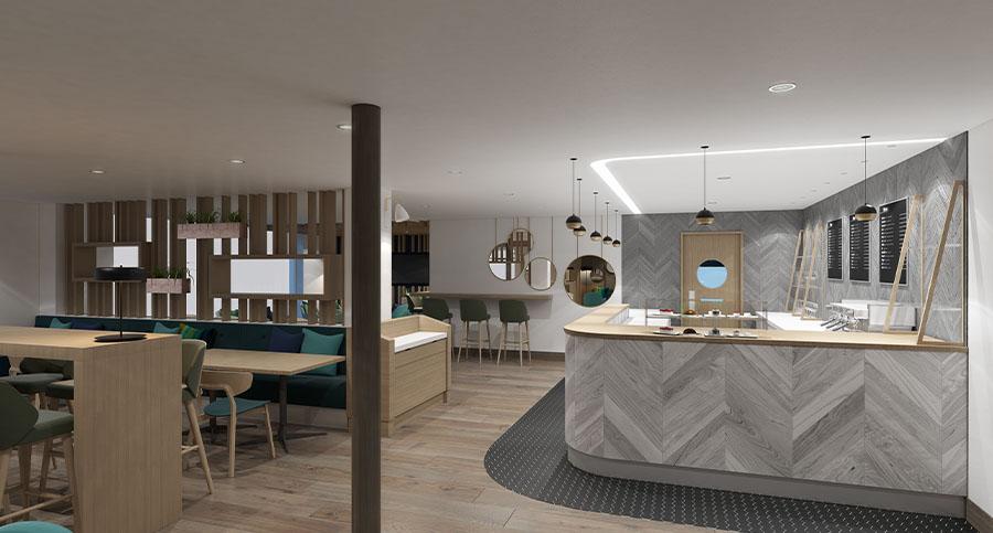 fitness club cafe interior design bar area
