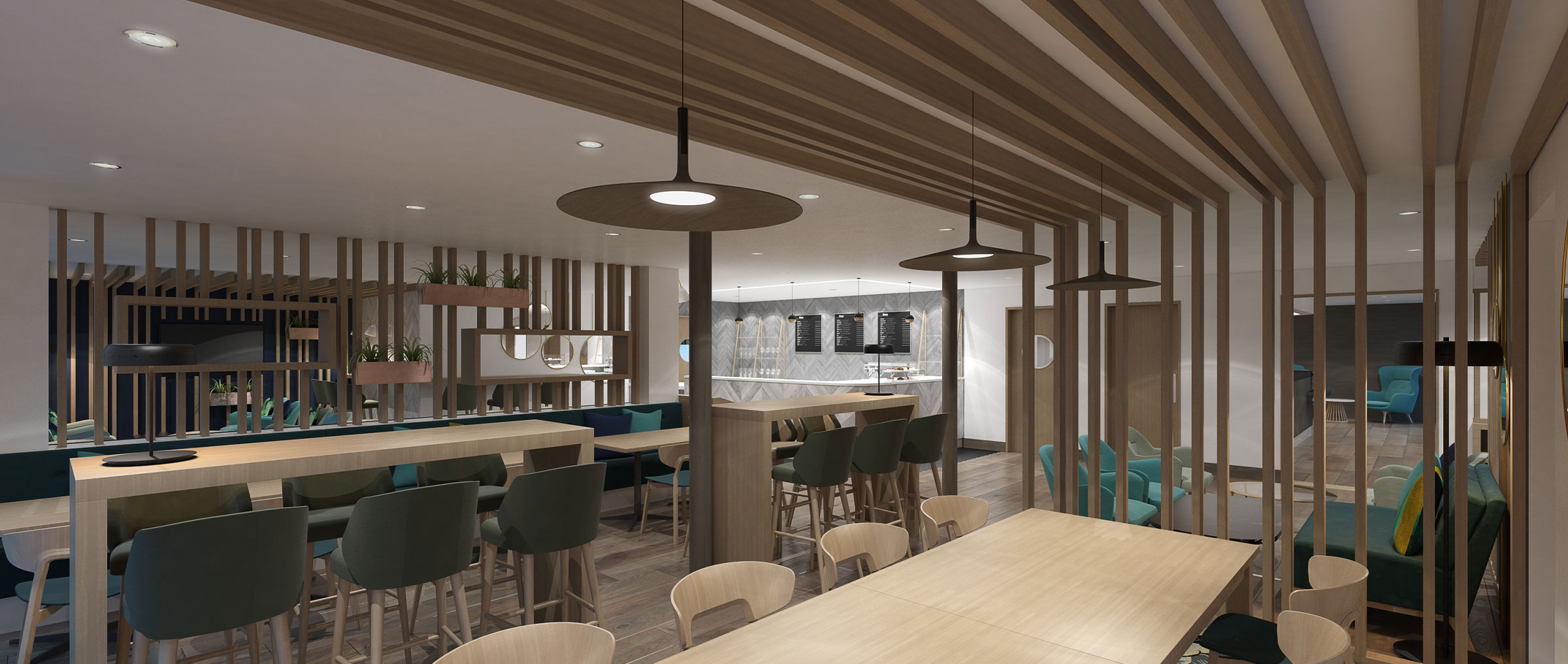 health club cafe interior design seating area with ceiling lights