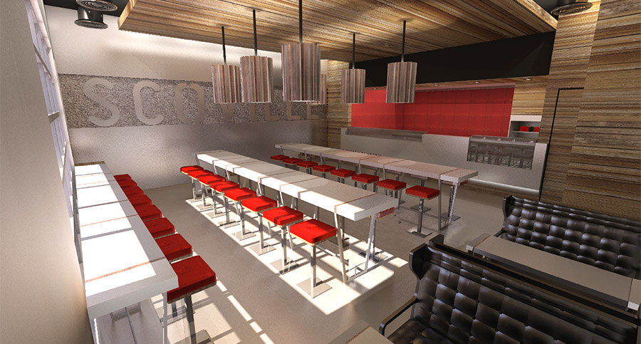 restaurant interior with branded wall decor and lighting fixtures