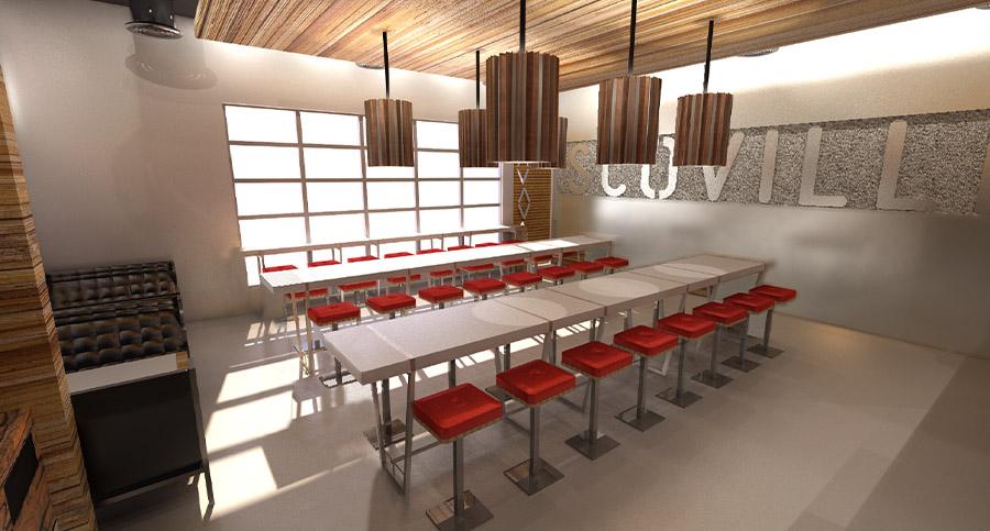 restaurant interior design with branded wall decor