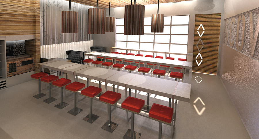 restaurant seating area interior design with long tables and lighting fixtures