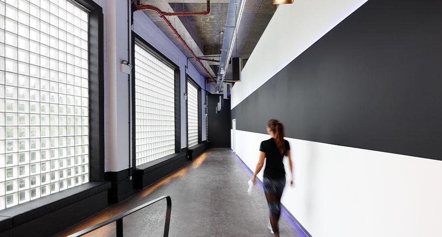 fitness club large hallway interior design