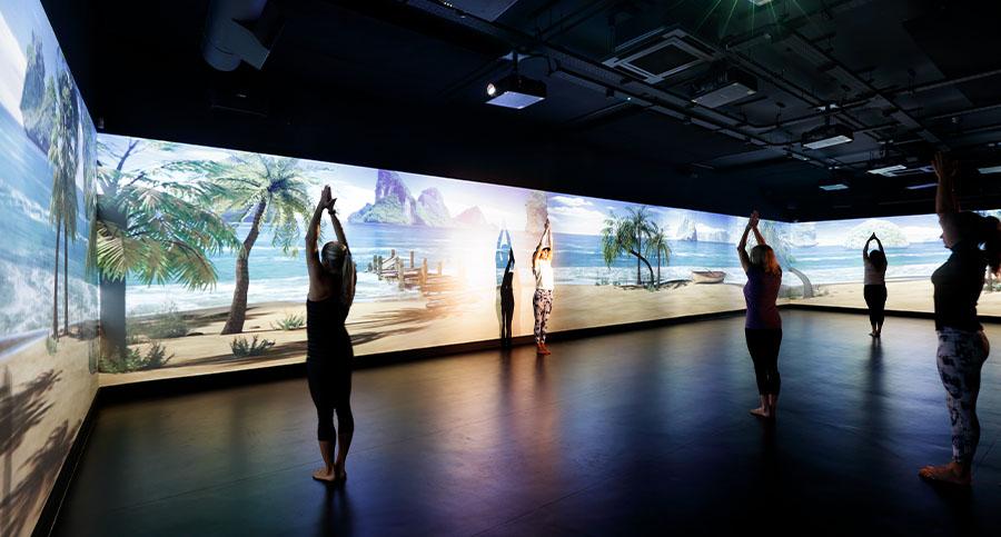 luxury hiit studio with dynamic lighting