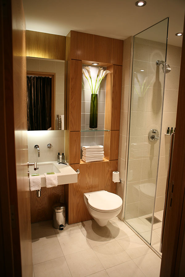 hotel interior bathroom with shower and toilet