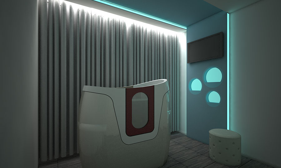 Aquabiking studio interior design