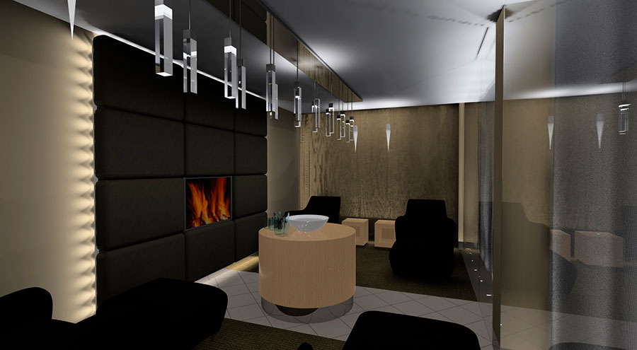 hotel spa room with beds and fireplace
