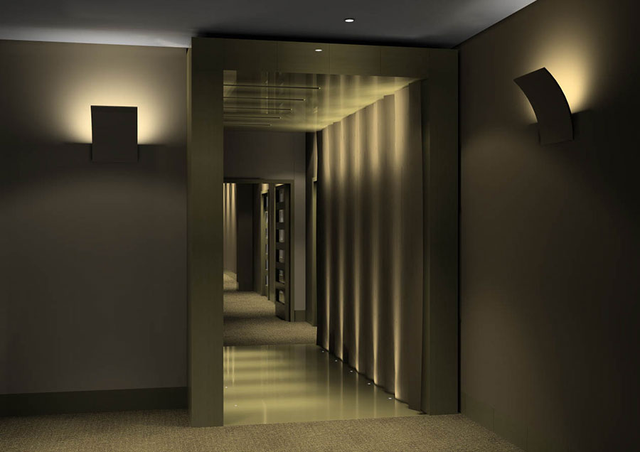 hotel spa corridor with floor lights