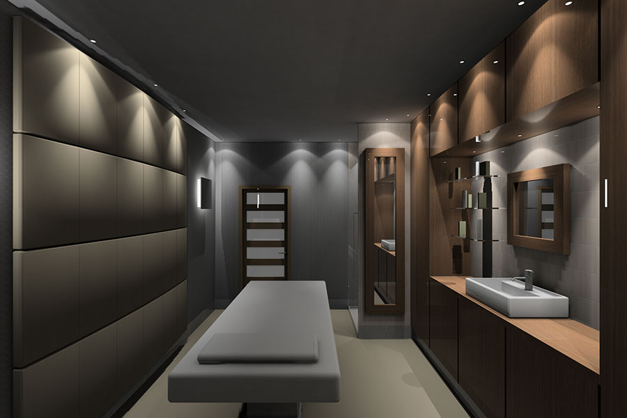 hotel spa room with bed and sanitation area