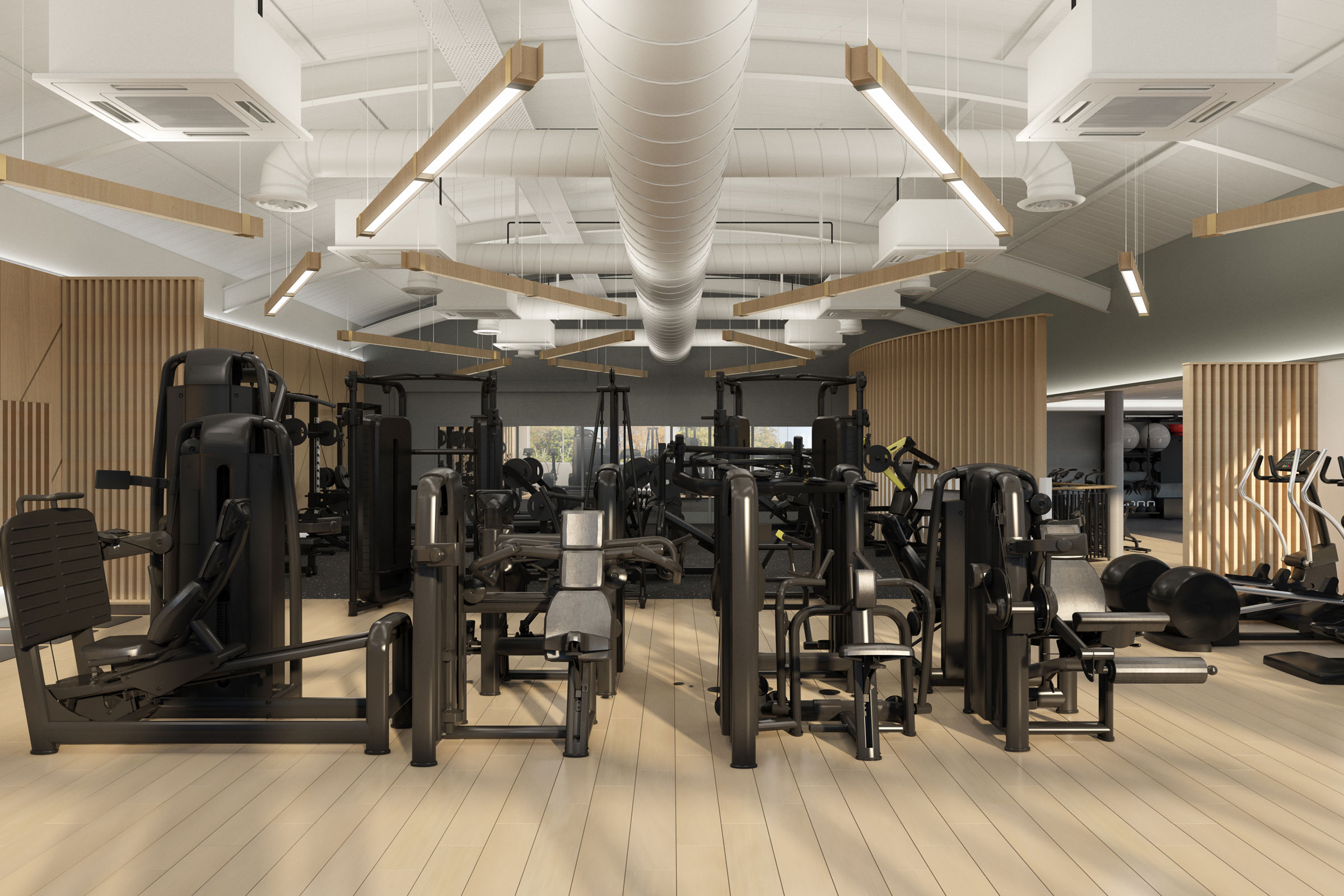 range of fitness equipment in a newly designed gym
