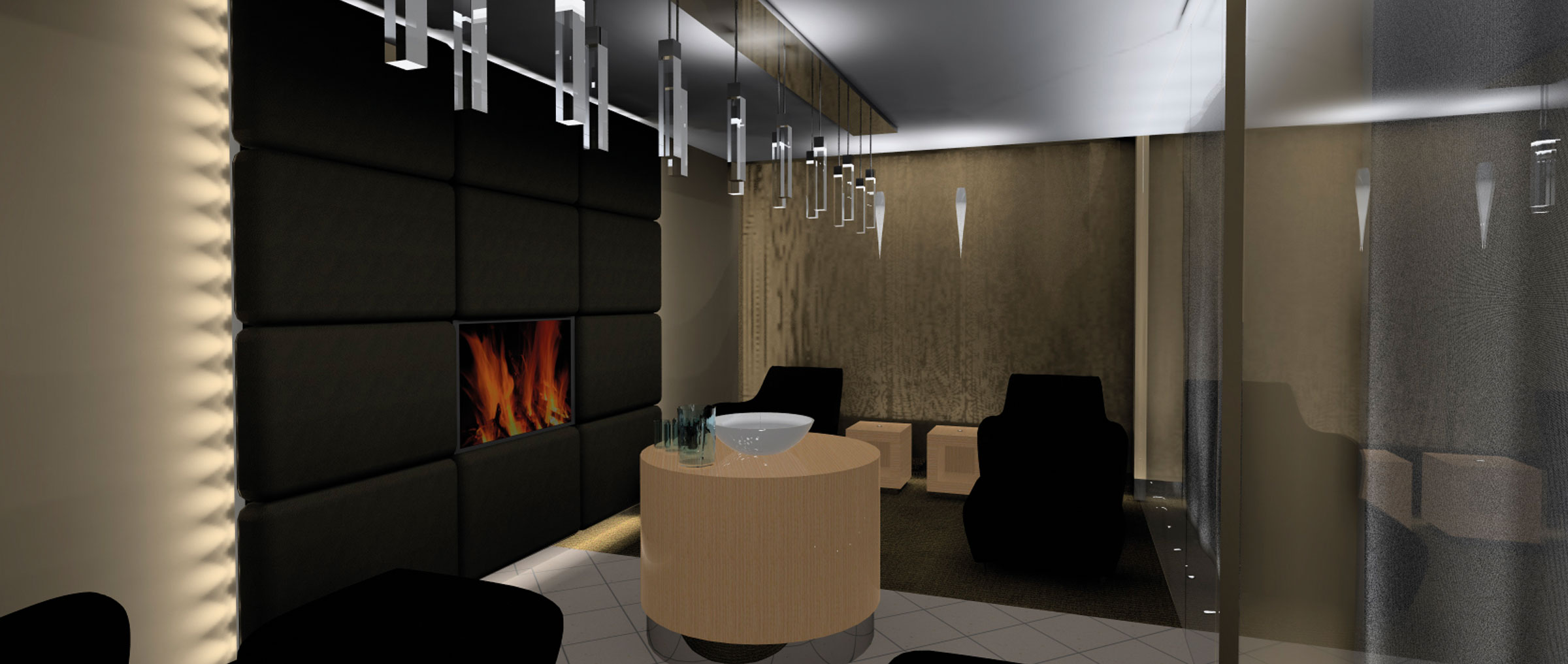 hotel spa with fireplace and beds