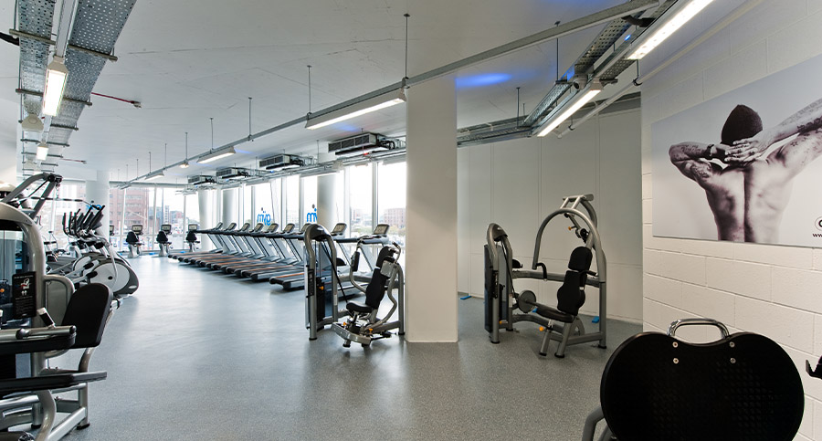 range of crossfit equipment in a large gym design
