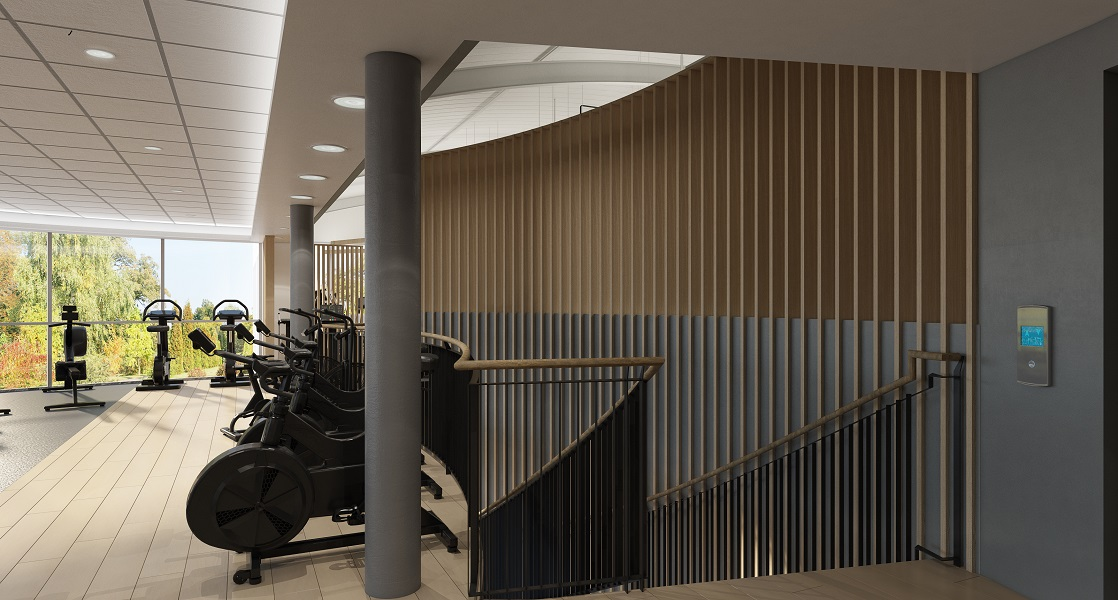 modern designed stairwell in a spin fitness studio