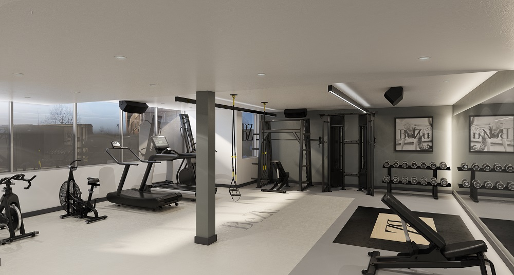 small gym with crossfit equipment