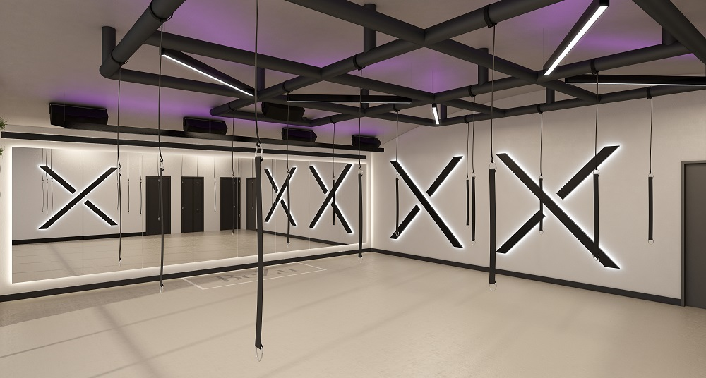 fitness studio with hanging exercise equipment