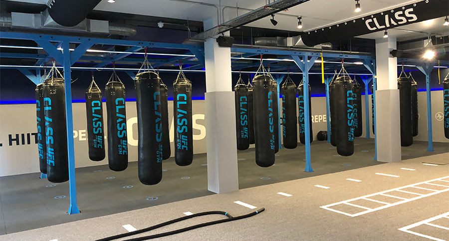 big gym room with punchbags