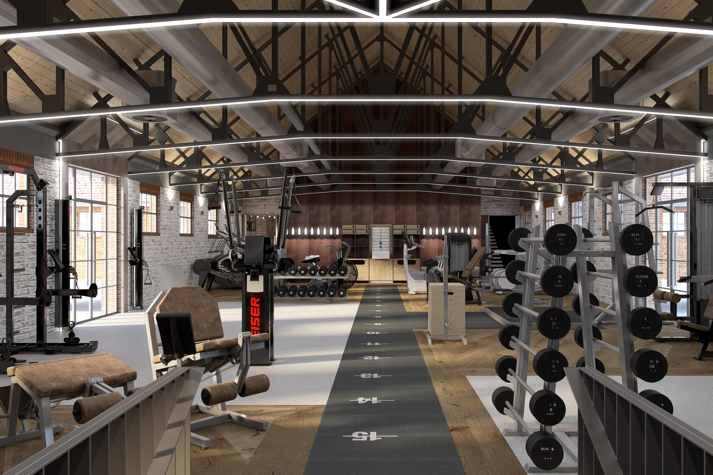 range of gym equipment in a large boutique gym